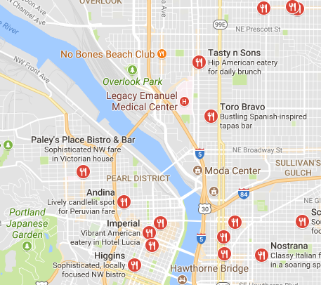 Vacation food options in portland
