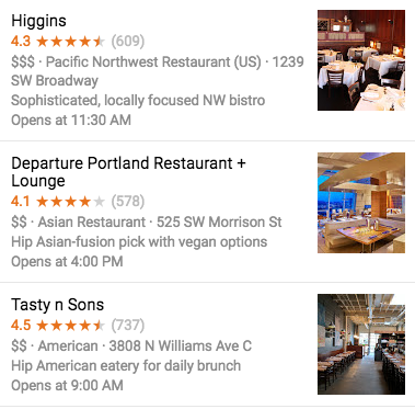 Food preview on Google Maps