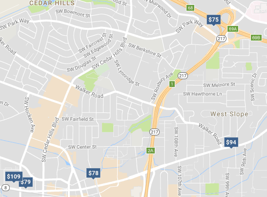 Hotel costs in Beaverton, a short drive from downtown Portland.