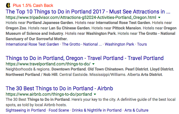 Search through Google to find activities for your vacation