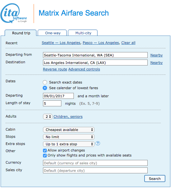Find the cheapest flights by using Google Matrix Airfare Search