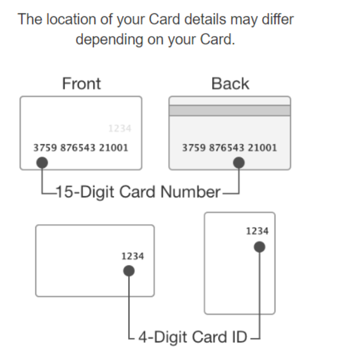 AMEX gift card number locations
