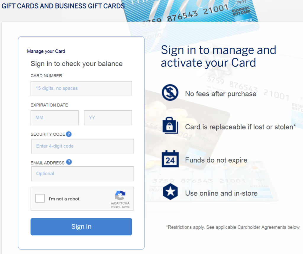 Check your balance and activate your AMEX gift card