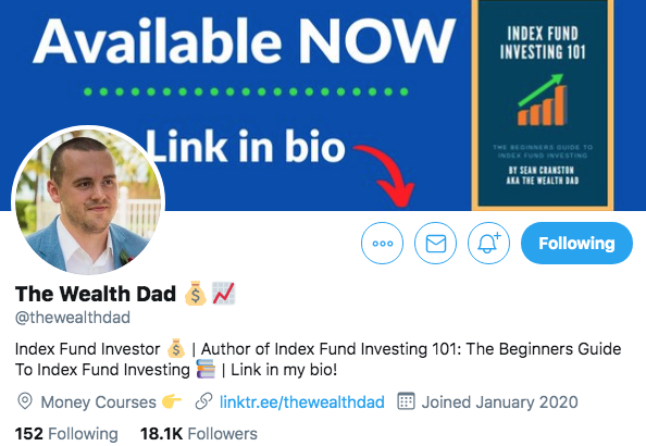 The Wealth Dad Optimized twitter bio