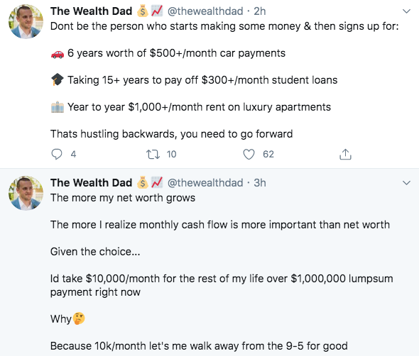 The Wealth Dad motivational tweets for audience