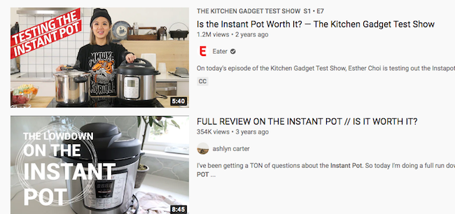 Instant Pot Reviews on YouTube